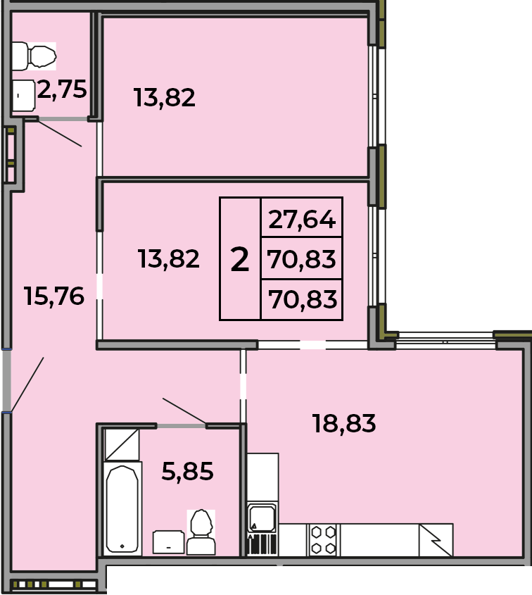 3Е-комнатная, 70.83 м²– 2