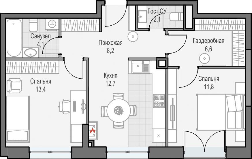 3Е-к.кв, 59.1 м², 20 этаж