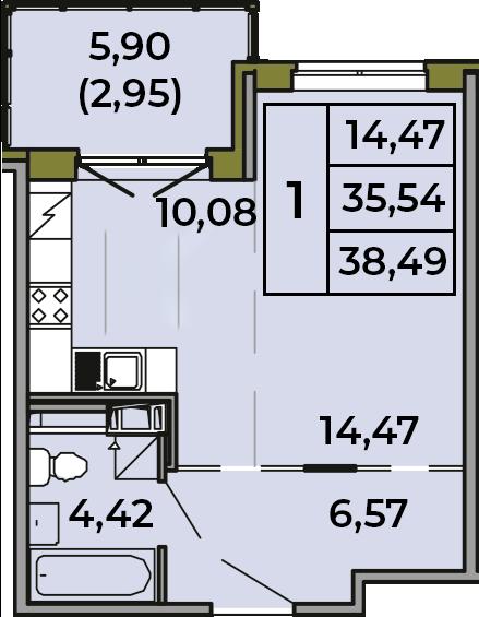 Студия, 41.44 м²
