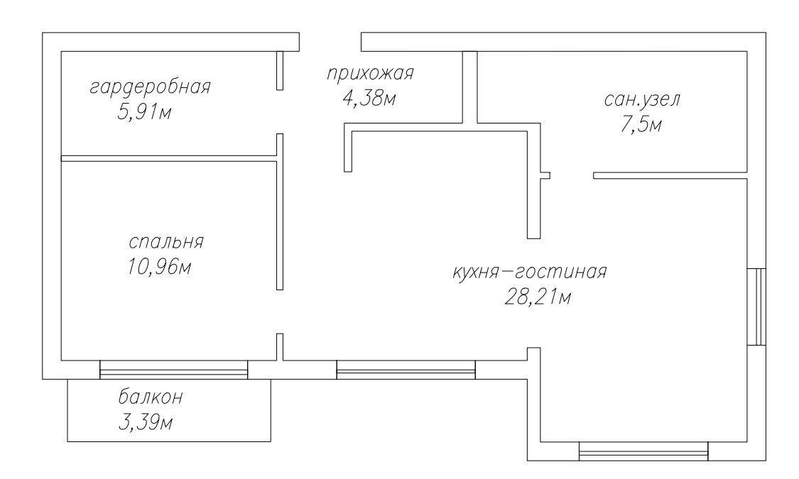 2Е-комнатная, 57.98 м²– 2