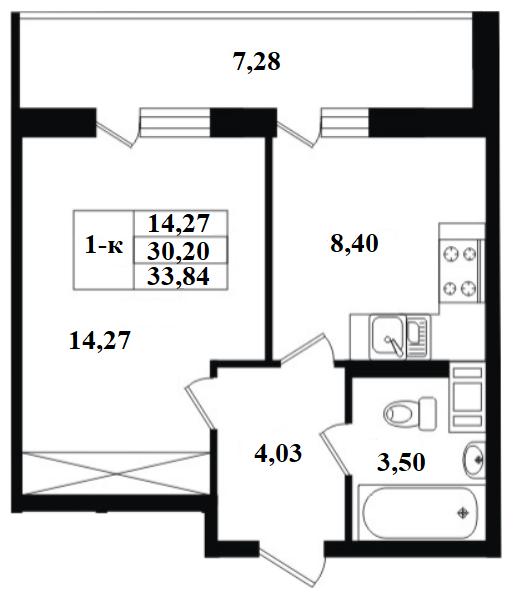 1-комнатная, 30.2 м²– 2