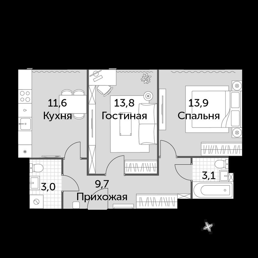 2-комнатная, 55.1 м²– 2
