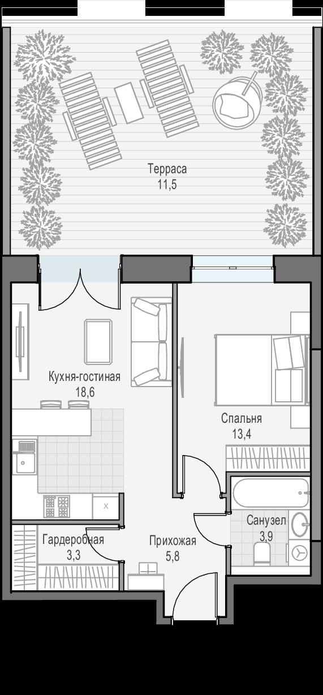 2-к.кв (евро), 56.5 м²