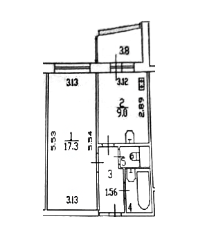 1-к.кв, 36.7 м²