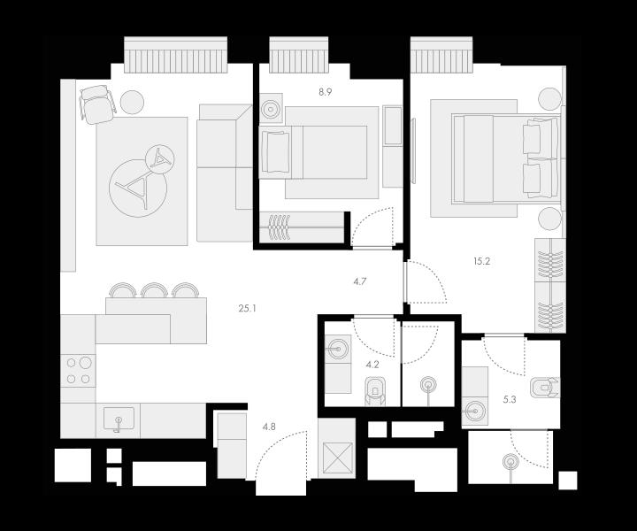 3Е-комнатная, 68.2 м²– 2