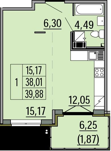 Студия, 39.88 м²– 2