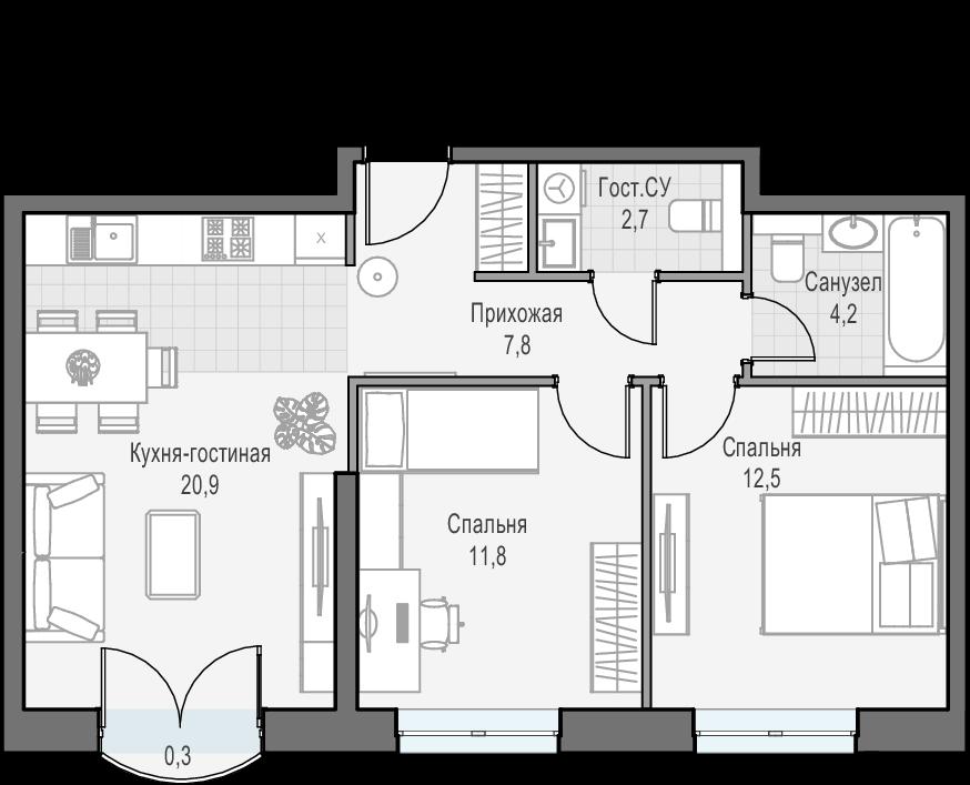3-к.кв (евро), 60.9 м²