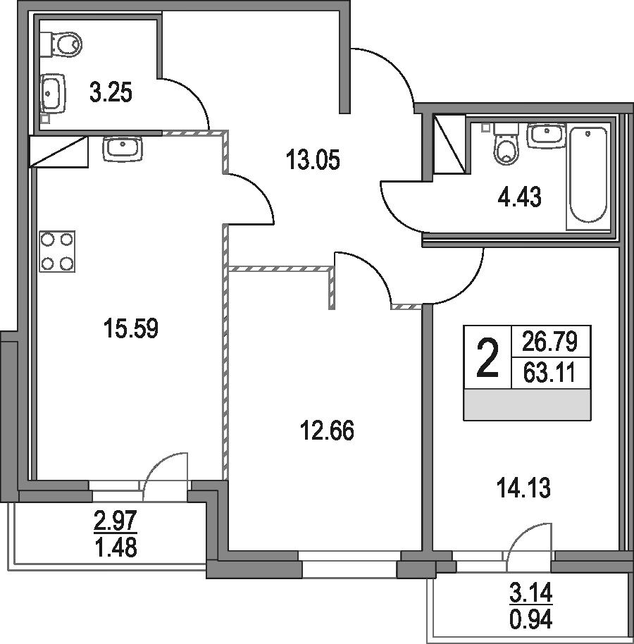 3Е-к.кв, 63.11 м², от 12 этажа
