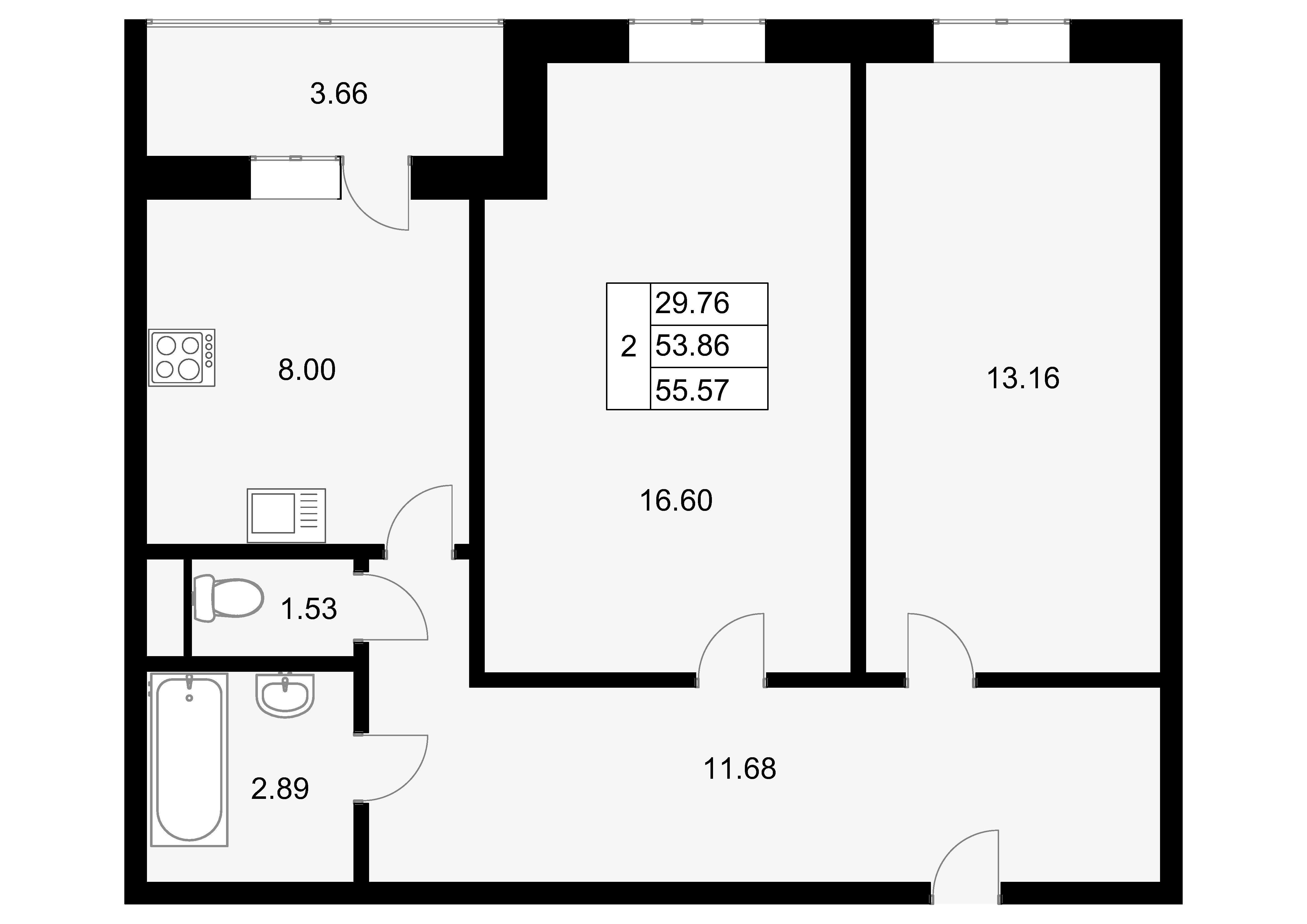 2-к.кв, 57.52 м²