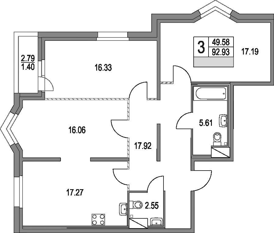 4Е-к.кв, 92.93 м², от 2 этажа