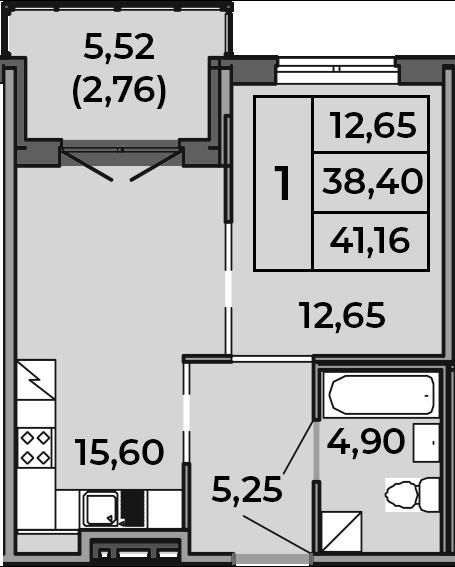 2Е-к.кв, 38.4 м², 1 этаж