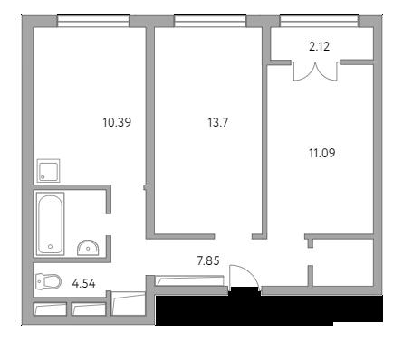 2-к.кв, 51.75 м²