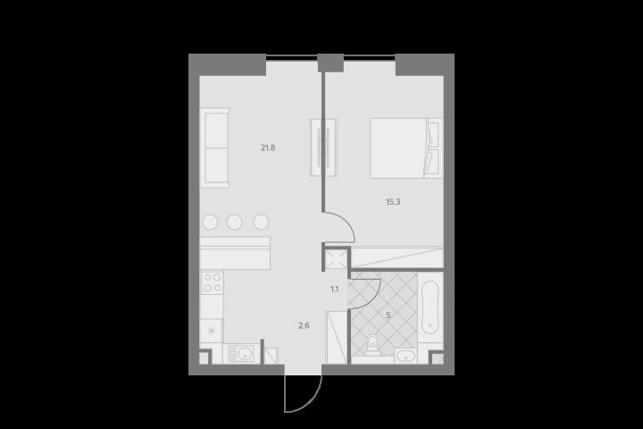 2Е-комнатная, 45.8 м²– 2