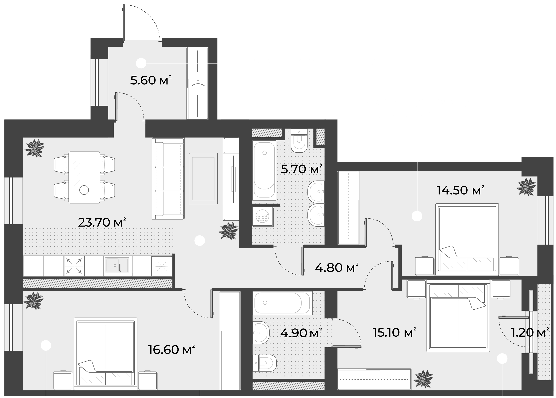 4Е-комнатная, 90.9 м²– 2