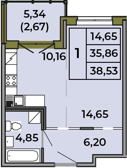 Студия, 35.86 м², 1 этаж