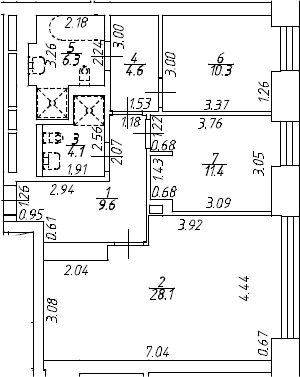 3Е-комнатная, 74.4 м²– 2