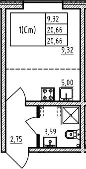 Студия, 20.66 м²– 2