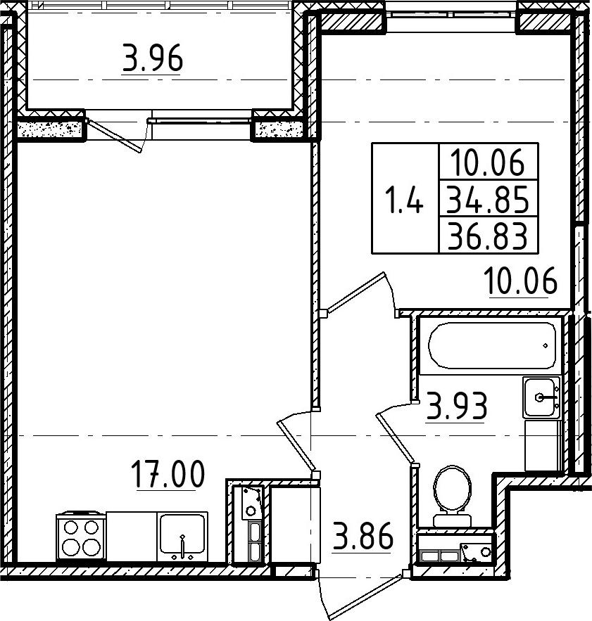 2Е-к.кв, 34.85 м², 4 этаж