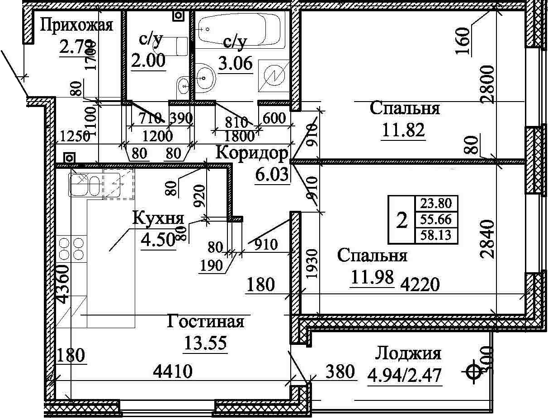 3Е-к.кв, 58.13 м²