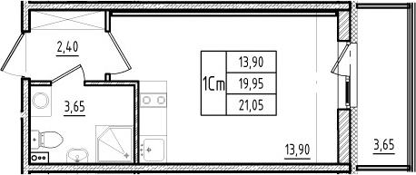 Студия, 19.95 м², 2 этаж