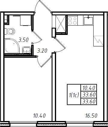2Е-комнатная, 33.6 м²– 2