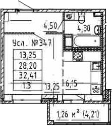 Студия, 32.41 м²