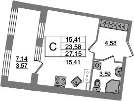 Студия, 23.58 м², 13 этаж