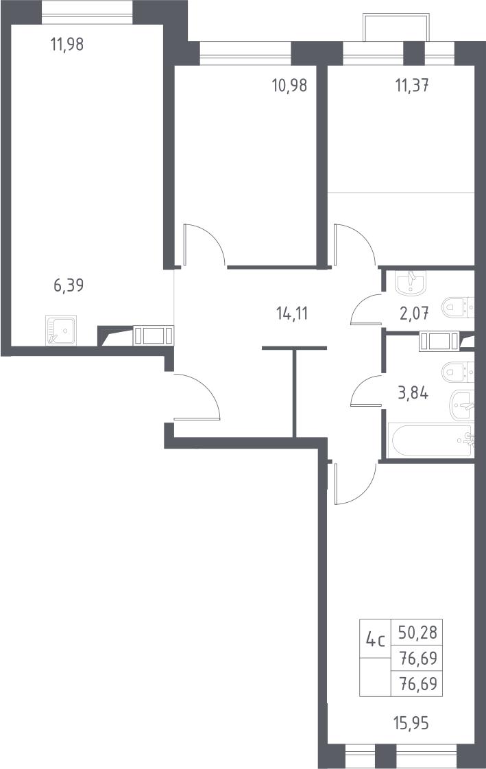 4-к.кв (евро), 76.69 м²