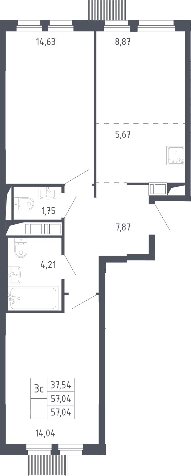 3Е-к.кв, 57.04 м², 9 этаж