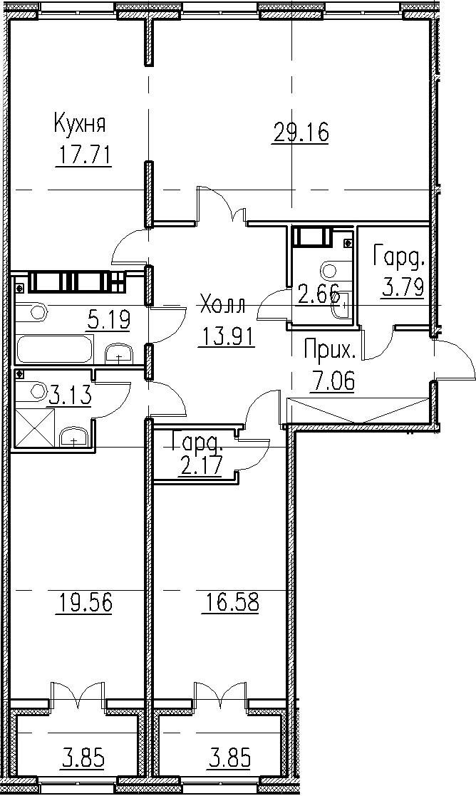 4Е-к.кв, 120.92 м², 5 этаж