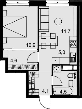 2Е-к.кв, 40.8 м², 13 этаж