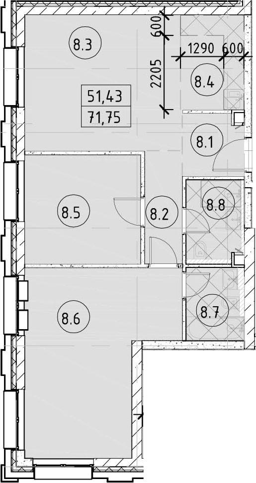 3Е-комнатная, 71.75 м²– 2