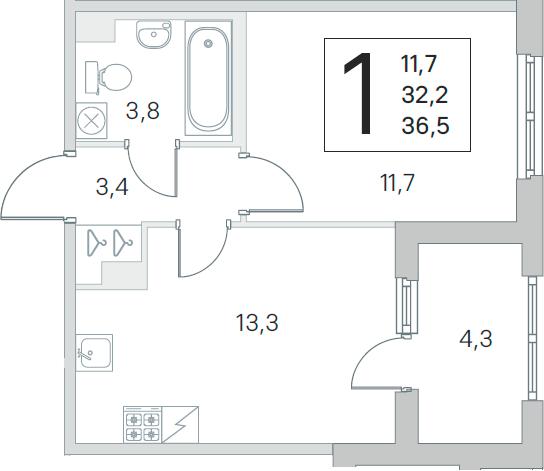2Е-к.кв, 32.2 м², 1 этаж