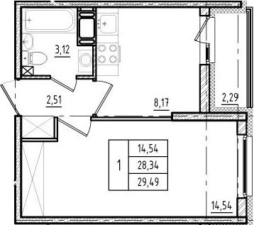 1-комнатная, 28.34 м²– 2