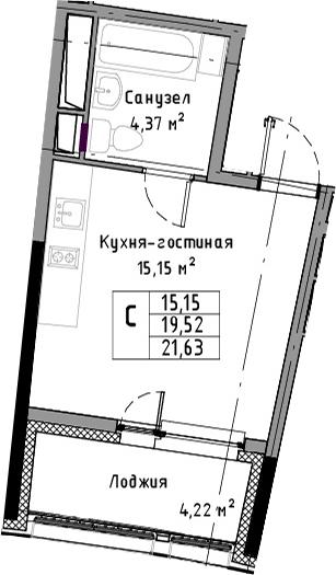 Студия, 21.63 м², 13 этаж