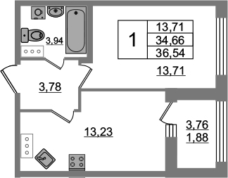 1-к.кв, 34.66 м²