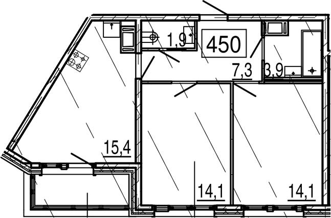 3Е-к.кв, 57.8 м², 11 этаж