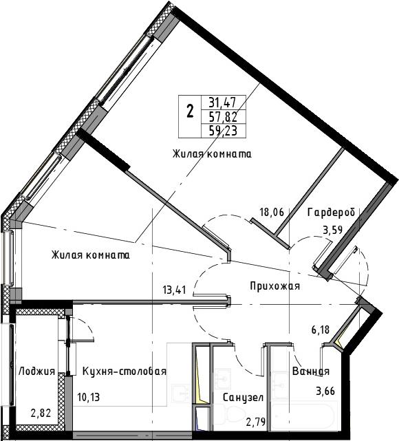 2-к.кв, 59.23 м², от 11 этажа