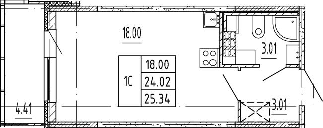 Студия, 24.02 м²– 2