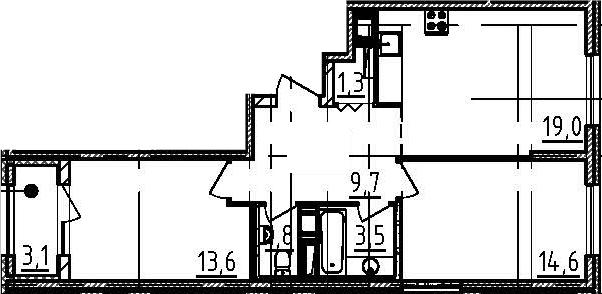 3Е-к.кв, 65.1 м²