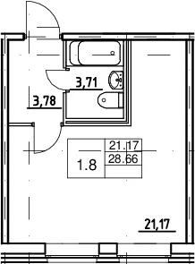 Студия, 28.66 м²