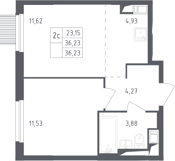 2Е-комнатная, 36.23 м²– 2