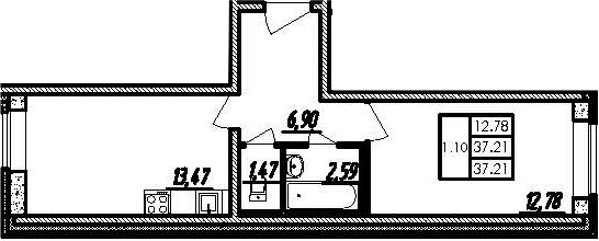 2Е-к.кв, 37.21 м²