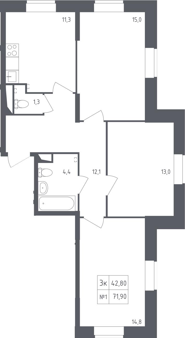 3-к.кв, 71.9 м²
