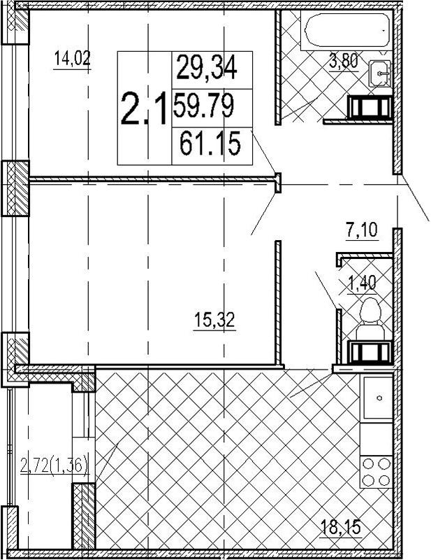 2-к.кв, 62.51 м²