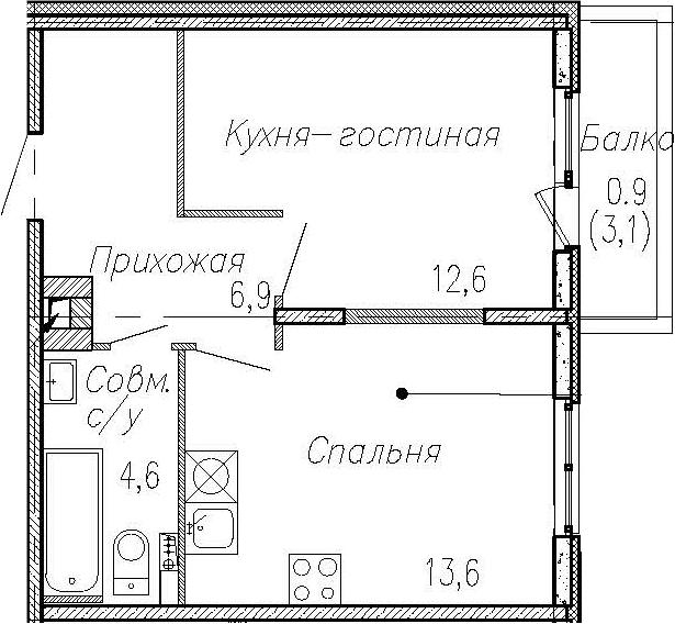 1-комнатная квартира, 37.7 м², 2 этаж – Планировка