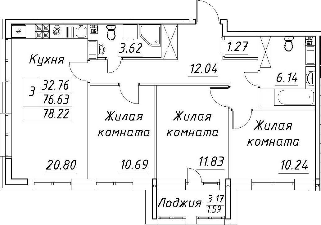 4-к.кв (евро), 79.81 м²