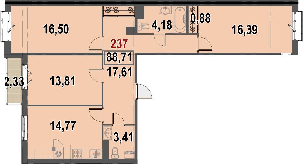3-комнатная, 88.71 м²– 2