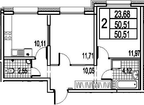 2-к.кв, 50.51 м²
