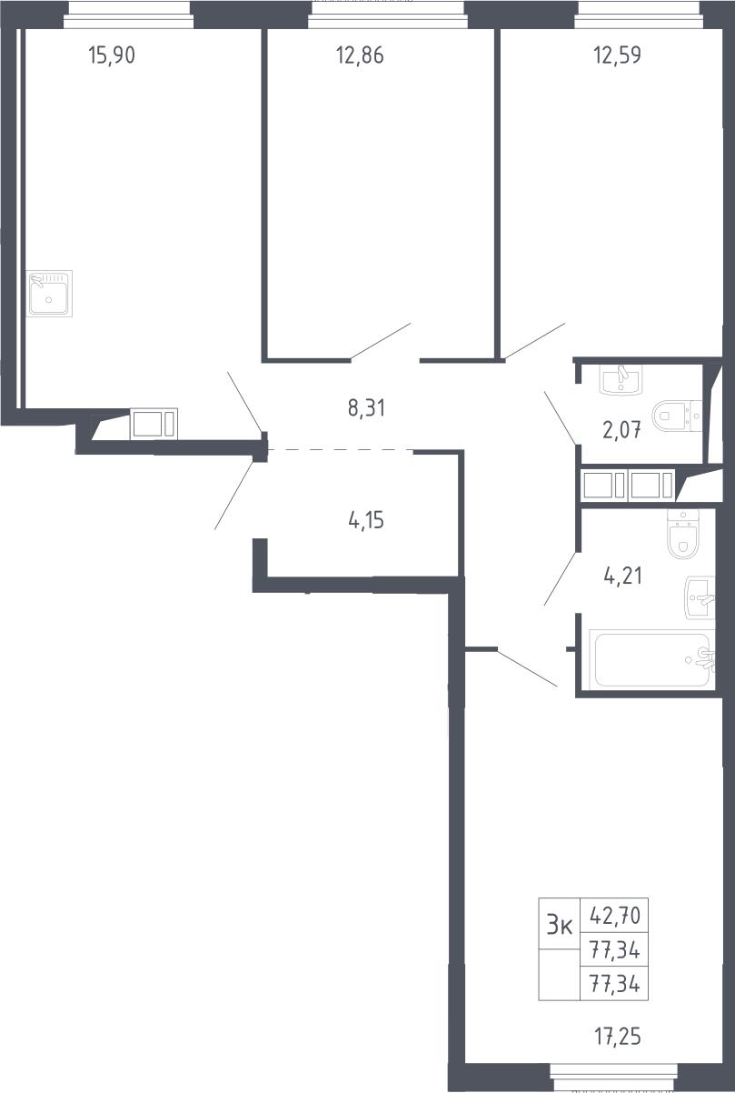 3-к.кв, 77.34 м²